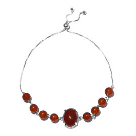 One Time Deal- Red Agate (Ovl 14x10mm) Adjustable Bracelet (Size 6.5-9.5mm) in Sterling Silver 18.00 Ct.
