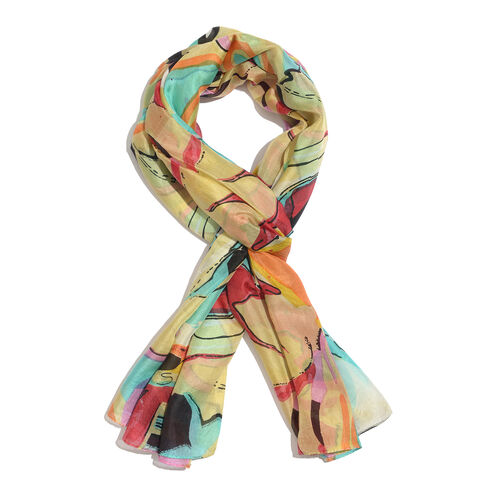 100% Mulberry Silk Yellow, Pink and Multi Colour Abstract Pattern Scarf (Size 180x100 Cm)