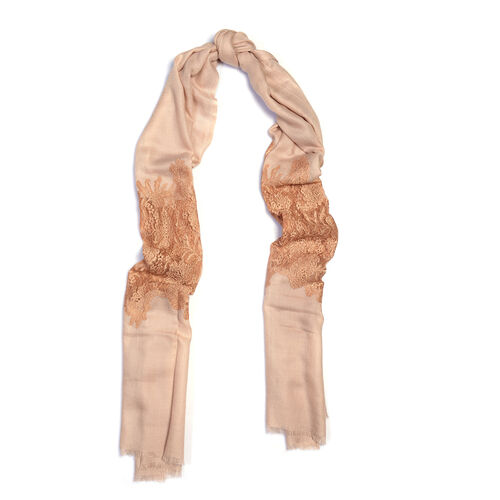 Designer Inspired One Time Offer - Cashmere Wool and Mulberry Silk Shawl With Lace Work and Fringes - Cream