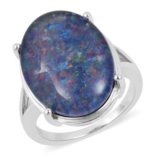 Collectors Edition- Very Rare Australian Boulder Opal (Ovl 20X15 mm ) Solitaire Ring in Rhodium Overlay Sterling Silver