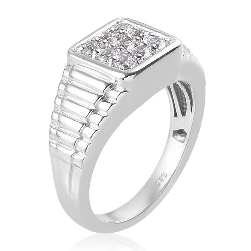 J Francis - Platinum Overlay Sterling Silver Cluster Ring Made with SWAROVSKI ZIRCONIA