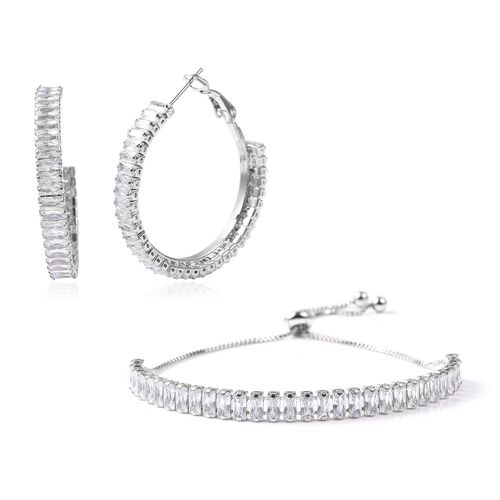 2 Piece Set - Simulated Diamond Adjustable Bolo Bracelet (Size 6-9) and Earrings (with Clasp) in Sil