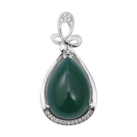 ELANZA Simulated Emerald and Simulated Diamond Drop Pendant in Rhodium Plated Sterling Silver