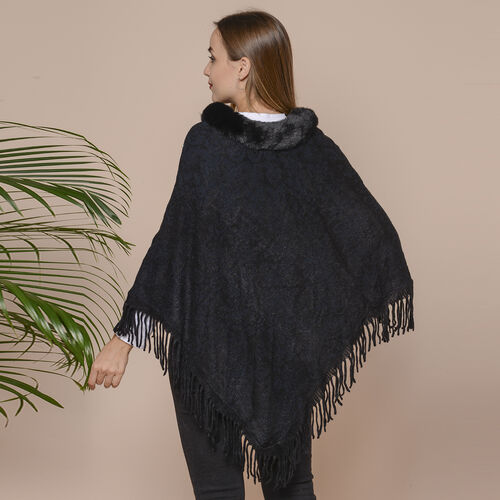 Knit Poncho with Faux Fur Collar, Simulated Pearls and Fringe Detail (Size 99x81+10cm) - Black