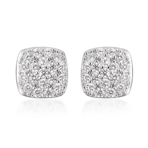 ELANZA Simulated Diamond Stud Cluster Earrings in Rhodium Plated Sterling Silver