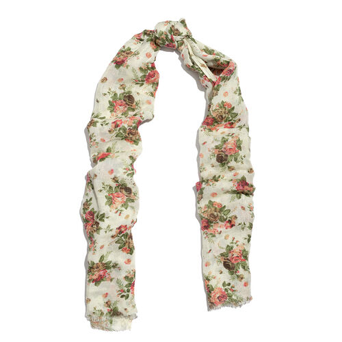 60 % Linen and 40% Modal Cream and Multi Colour Floral Printed Scarf (Size 180x70 Cm)