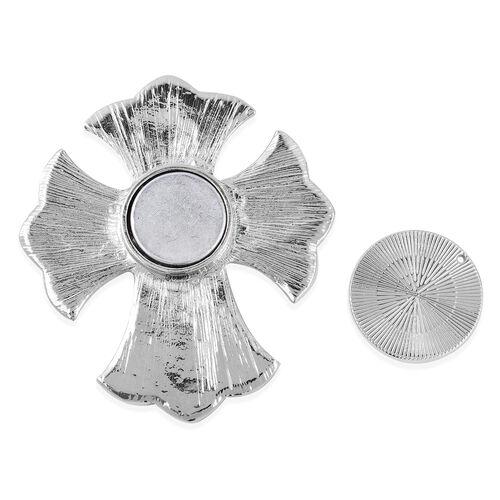White Austrian Crystal (Rnd) Fleur De Lis Cross Brooch in Silver Tone