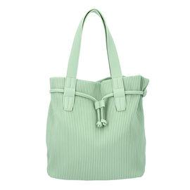 Stripe Pattern Drawstring Handbag with Magnetic Closure (Size 27x15x30 Cm) - Light Green