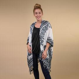 TAMSY 100% Rayon Printed Kimono, One Size ( Fits 8-20 ) - White