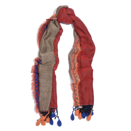 One Time Deal Designer Inspired Wool Red and Brown Colour Scarf with Pom Pom (Size 180X70 Cm)