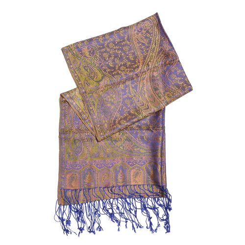 SILK MARK - 100% Superfine Silk Purple and Multi Colour Paisley and Floral Pattern Jacquard Jamawar Scarf with Tassels (Size 180X70 Cm) (Weight 125 - 140 Gms)