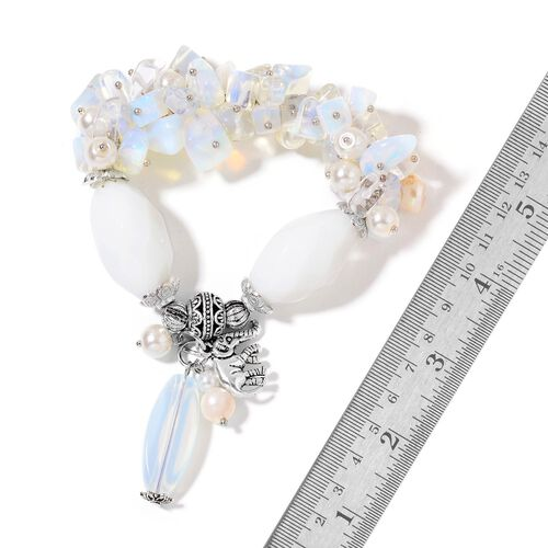 Set of 2- Opalite, Fresh Water White Pearl, Black Agate ,Simulated White Diamond and Multi Colour Beads Stretchable Bracelet (7.50) with Charm in Silver Plated