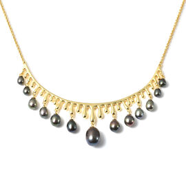 LucyQ Pearl Drop Collection- Freshwater Peacock Pearl Necklace (Size:16 with 4 inch Extender) in Yel