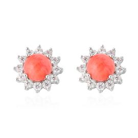 Living Coral (Rnd 8 mm), Natural White Cambodian Zircon Stud Earrings (with Push Back) in Rhodium Ov