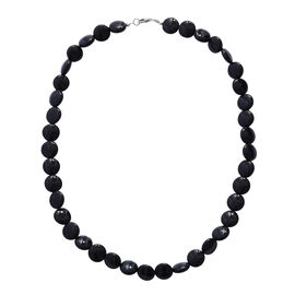 200 Ct Black Onyx Beaded Necklace in Sterling Silver 20 Inch