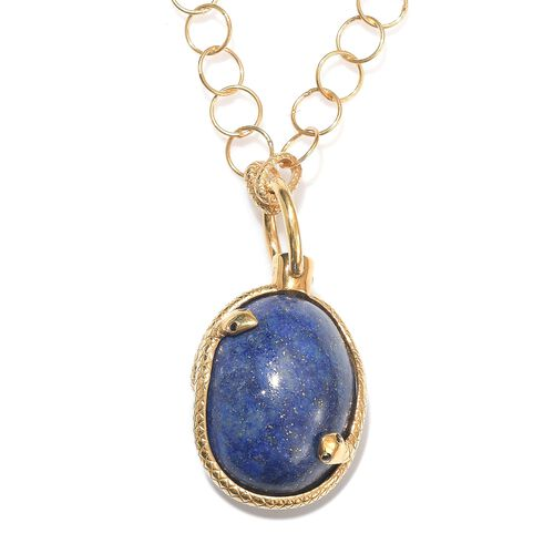Sundays Child - Lapis Lazuli, Boi Ploi Black Spinel and Natural Cambodian Zircon Necklace (Size 32) in 14K Gold Overlay Sterling Silver