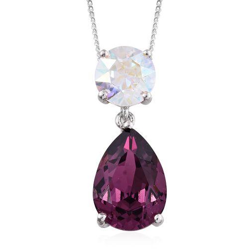 J Francis Crystal from Swarovski - Purple Velvet Colour Crystal (Pear), AB Colour Crystal Pendant With Chain in Platinum Overlay Sterling Silver. Silver wt. 3.00 Gms.