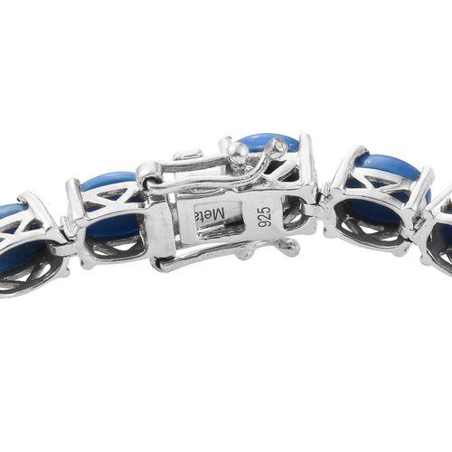 Ceruleite (Ovl) Tennis Bracelet (Size 7.5) in Platinum Overlay Sterling Silver 15.500 Ct. Silver wt 11.00 Gms.