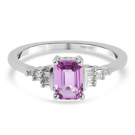 950 Platinum   Pink Sapphire ,  White Diamond  Ring 1.07 ct,  Platinum Wt. 3.86 Gms  1.066  Ct.