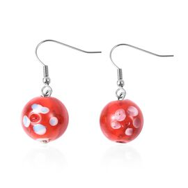 Red Colour Murano Glass Drop Hook Earrings in Stainless Steel