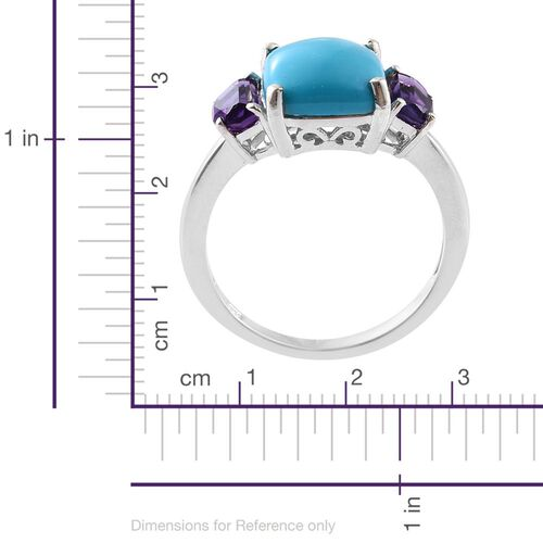 Arizona Sleeping Beauty Turquoise (Cush 4.50 Ct), Moroccan Amethyst Ring in Platinum Overlay Sterling Silver 4.750 Ct.