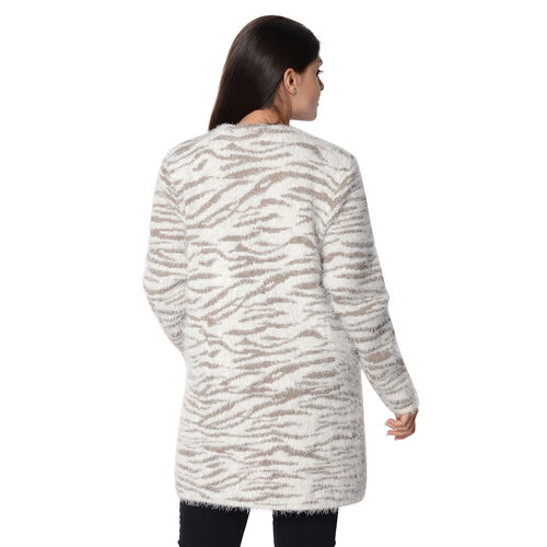 Soft and Smooth White Tiger Pattern Sweater Coat with 2 Pockets (Size 51x81 Cm) - Taupe and White
