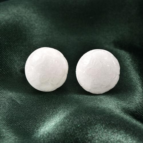 Carved Natural Jade Stud Earrings in Sterling Silver 41.00 Ct.