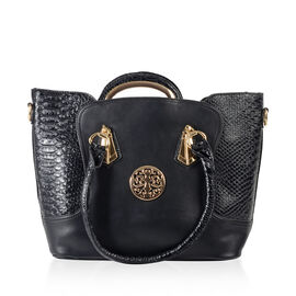 Set of 2 Middle size Tote Bag With Zipped Closure in Black Colour Size 40x28x14cm/32x32x9cm