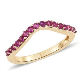 0.50 Carat AA Burmese Ruby Wishbone Ring in 9K Gold