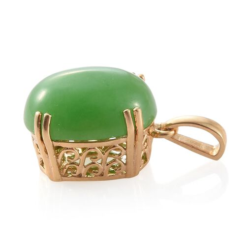 Green Jade (Ovl) Pendant in 14K Gold Overlay Sterling Silver 11.000 Ct.