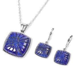 2 Piece Set - Lapis Lazuli Pendant with Chain (Size 20) and Lever Back Earrings in Stainless Steel 5