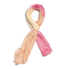 Pink and Orange Colour Matt Weave Screen Printed Scarf (Size 170x70 Cm)