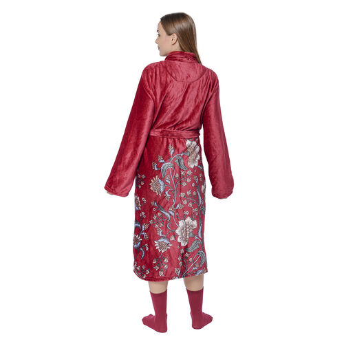 2 Piece Set - Flannel Floral Print Robe with Cotton Socks - Red