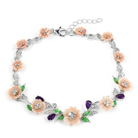 Jardin Collection- Pink Mother of Pearl, Amethyst and Natural White Cambodian Zircon Enameled Floral Bracelet (Size 7 with 1.5 Extender) in Rhodium Overlay Sterling Silver, Silver wt 7.95 Gms