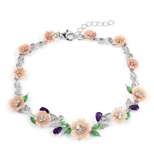 JARDIN COLLECTION - Pink Mother of Pearl, Amethyst and Natural White Cambodian Zircon Enameled Floral Bracelet (Size 7 with 2 Extender) in Rhodium Overlay Sterling Silver, Silver wt 8.45 Gms