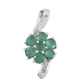 Mega Day Deal-9K White Gold Kagem Zambian Emerald (Rnd), Diamond Flower Pendant 1.250 Ct.Gold Wt 1.60 Gms