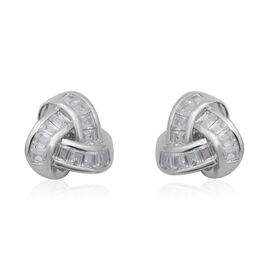 ELANZA Simulated Diamond Knot Earrings in Rhodium Overlay Sterling Silver