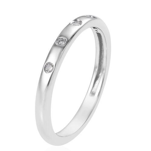 Diamond (Rnd) Stacker Band Ring in Platinum Overlay Sterling Silver 0.05 Ct.