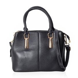 100% Genuine Leather Black Colour Tote Bag with External Zipper Pocket and Removable Shoulder Strap (29.5x23x13 Cm)