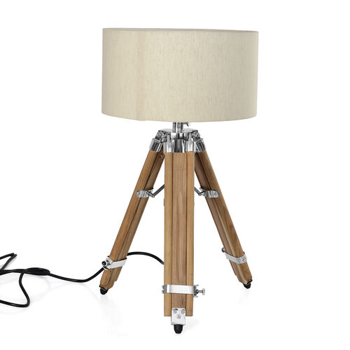 Natural Teak Wook Tripod Lamp (81 cm) with Stainless Steel Elements and Natural Colour Linen Lampshade (28x15 Cm)