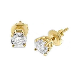 0.50 Ct Diamond Stud Solitaire Earrings in 14K Yellow Gold I2 I3 GH