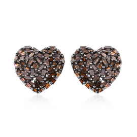 GP Red Diamond (Bgt), Kanchanaburi Blue Sapphire Heart Stud Earrings (with Push Back) in Black Rhodium and Platinum Overlay Sterling Silver 0.500 Ct.