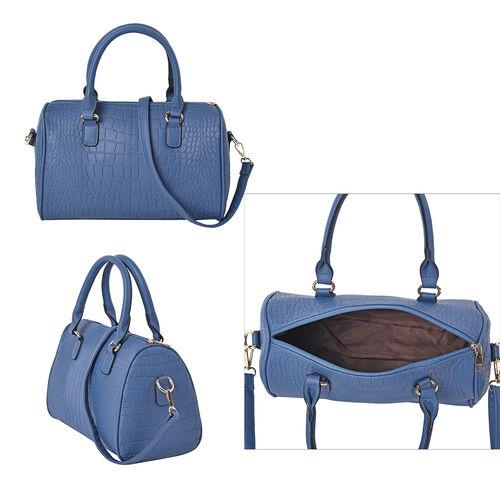 Set of 3 - Crocodile Skin Pattern Tote Bag (34x26x13.5cm), Satchel Bag with Detachable Shoulder Strap (30x21x13cm) and Crossbody Bag with Metallic Chain Strap (24x16cm) - Black