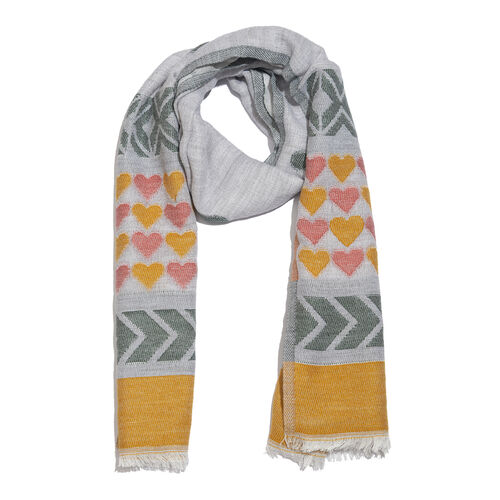Desinger Inspired - Cotton Yellow, Grey and Multi Colour Heart Pattern Scarf with Fringes (Size 180X70 Cm)