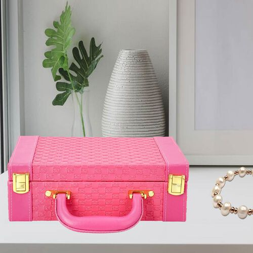 Fuchsia Colour Woven Pattern Briefcase Design Double Layer Jewellery Box with Mirror Inside (Size 27.5X18.5X9 Cm)