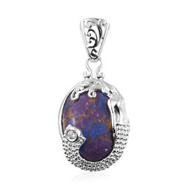 Purple Mojave Turquoise (Ovl 16x12 mm), Natural Cambodian Zircon Pendant in Sterling Silver 8.750 Ct.