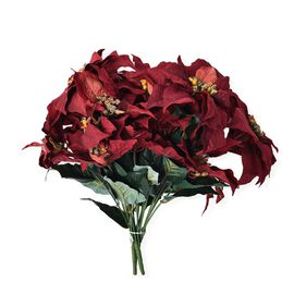 Set of 3 - Artificial 8 Heads (Total 24 Heads) Christmas Poinsettia Flower - Red and Green