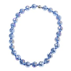 Blue Magic Color Glass Beaded Necklace in Stainless Steel 20 Inch