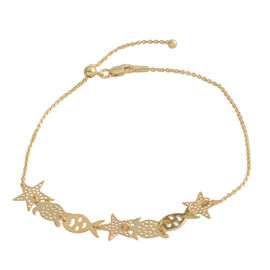 Yellow Gold Overlay Sterling Silver Adjustable Anklet (Size 10), Silver wt 3.00 Gms.