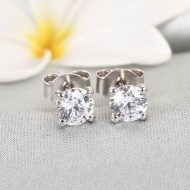 J Francis - Platinum Overlay Sterling Silver Stud Earrings (with Push Back) Made with SWAROVSKI ZIRCONIA 1.720 Ct.